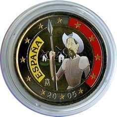 moneda conmemorativa 2 euros España 2005 (Quijote). Color