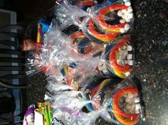 Rainbow twizzlers and mini marshmallows...for Girl Scout bridging party...