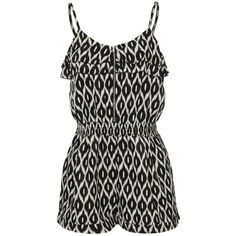 Ribbon Tribal Print Playsuit ($13) ❤ liked on Polyvore featuring jumpsuits, rompers, dresses, playsuits, shorts, ruffle romper, playsuit romper, tribal print jumpsuit, tribal romper and romper jumpsuit