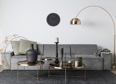 Decospot | Livingroom Inspiration | Zuiver Cupid Side Tables & Metal Bow Lamp. Available at decospot.be webshop.