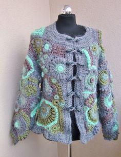 winter SALE,  avant garde, artist cardigan, , freeform crochet, bohemian style, sweater , jacket