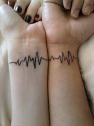 heartbeat tattoo - Google Search This would be an awesome couple tattoo with each other's <3 beat