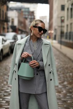 Mint and mini gingham // Blair Eadie wearing a gingham suit from ASOS paired back to mint outerwear and accessories // Pearl earrings by Lele Sadoughi // Click through for full outfit details and more transitional suiting looks on Atlantic-Pacific Mode Outfits, Fall Outfits, Casual Outfits, Fashion Outfits, Womens Fashion, Fashion Trends, 80s Fashion, Modest Fashion, Korean Fashion