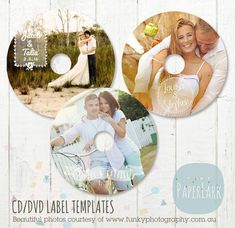 CD/dvd label photoshop templates  EB011  by PaperLarkDesigns, $9.95 perfect for wedding, engagement couples or a wedding thank you