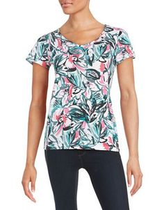 Lord & Taylor Floral Knit Tee Women's Zinnia Small