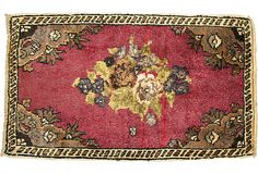 Turkish Floral Rug, 1'10