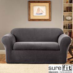 Sure Fit Stretch Metro Two-piece Grey Loveseat Slipcover | Overstock.com Shopping - The Best Deals on Loveseat Slipcovers