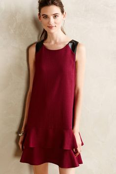Leather-Kissed Shift - anthropologie.com