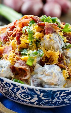 Loaded Ranch Potato Salad with Bacon (used way more bacon and mayo than the recipe called for). Also did not have a ranch packet so just used, salt, pepper, garlic powder, onion powder and parsley.