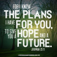 Bible scripture: For I know the plans I have for you, plans to give you a hope and a future. Jeremiah 29:11