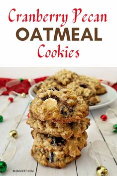 Cranberry Pecan Oatmeal Cookies are jammed pack with flavor, soft, and chewy.  They'll quickly become a favorite any time of the year. #cookies #oatmeal #cranberry #pecans #baking Pecan Cookies, Molasses Cookies, Cake Mix Cookies, Oatmeal Cookies, Yummy Cookies, Easy Desserts, Dessert Recipes, Holiday Desserts, Delicious Cookie Recipes