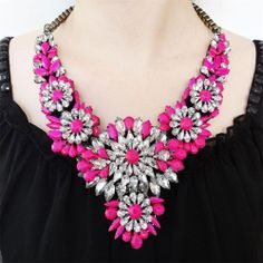 I just bought this too and I am super excited about it! Vintage Style H-Quality Neon Pink Flower Necklace Statement Rhinestone Crystal