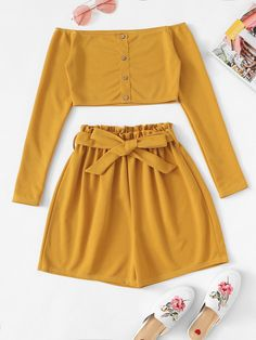 Shop Off The Shoulder Button Frill Belted Two-piece Outfit online. SheIn offers Off The Shoulder Button Frill Belted Two-piece Outfit & more to fit your fashionable needs. Cute Girl Outfits, Summer Outfits Women, Cute Casual Outfits, Pretty Outfits, Stylish Outfits, Curvy Outfits, Girls Fashion Clothes, Teen Fashion Outfits, Clothes For Women