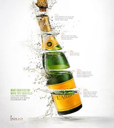 Champagne-Popping Award Campaigns - The CLIO Awards Ads Feature Hard Work and Intense Celebration Advertising Awards, Creative Advertising, Print Advertising, Advertising Ideas, Advertising Photography, Commercial Photography, Award Poster, Champagne, Ad Of The World