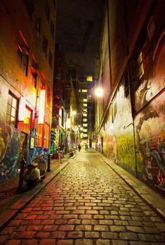 Cobblestones meet street art in the laneways of Melbourne, Australia