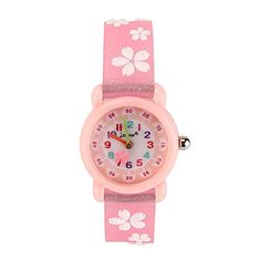 awesome Kids Cartoon Watch , 3D Waterproof Children Wristwatches Cartoon Kids Wrist Watch With Toddler Children Great For Boy And Girl Ages 3-7 Time Teacher (Pink Floral)
