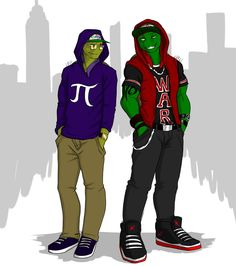 Hoods by Hashiree.deviantart.com on @DeviantArt << Donnie has the pi symbol.. hehe, And Raph wow, he looks almost like a gangsta.