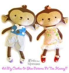 Monkey Softie Stuffed Toy Sewing Pattern 5 copy by Dolls And Daydreams, via Flickr