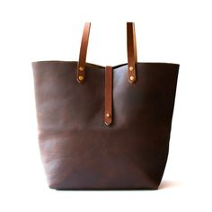 Brown Leather Cross Strap Tote