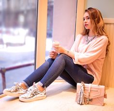Alina Nue - Furla Chain Bag, H&M Silver Sneakers, H&M High Waist Jeans, Marks & Spencer Jumper, Asos Bag Charm - Cozy 90s