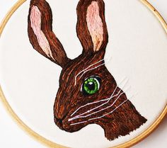 Hare British Wildlife Hand Embroidery 4 inch Hoop Wall Art