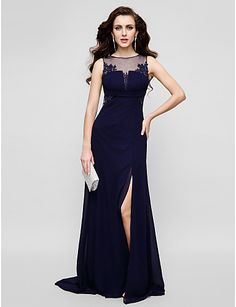 TS Couture® Formal Evening Dress - Dark Navy Plus Sizes / Petite Sheath/Column Jewel Floor-length Chiffon / Tulle 2016 - $99.99