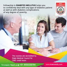 At Indian Medical Association College, PG Program in Diabetes Mellitus provides you with comprehensive up-to-date Post Graduate knowledge in the management of Diabetes in your clinical practices. for more info : http://www.imaevarsity.com/fellowship-in-diabetes-mellitus/