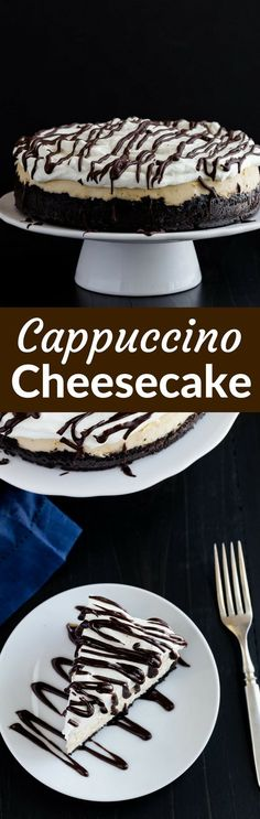 This cappuccino cheesecake sits on a thick, buttery chocolate cookie crust. Why drink a cappuccino when you can eat it with cheesecake? via /introvertbaker/ Cappuccino Cheesecake Recipe, Baked Cheesecake Recipe, Make Ahead Desserts, Just Desserts, Delicious Desserts, Baby Food Recipes, Baking Recipes, Dessert Recipes, Yummy Treats
