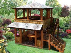 Backyard Gazebo, Garden Gazebo, Backyard Patio Designs, Pergola, Small Backyard Landscaping, Hut House, Tiny House Cabin, House With Porch, Tiny House Living