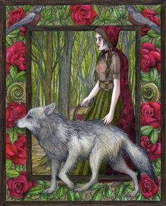 """""""Red and the Wolf"""" original illustration by artist and author Jessica Boehman"""