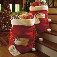 Personalized Santa Bags - Love the idea of each person in the family getting their own bag of gifts!!
