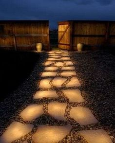 solar light stepping stones, this would look amazing at my house