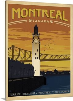 Dreamawsl Wall Decoration - Deco City Montreal Canada Clock Tower Bridge River - Metal Vintage Retro Tin Wall Signs Bar Club Poster Signs x inch Old Posters, Vintage Travel Posters, Vintage Ads, Retro Posters, City Poster, Posters Canada, Tourism Poster, Kunst Poster, Canada Travel