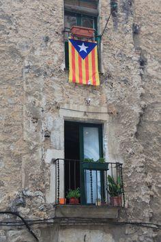 Flying the Catalan Nationalist Flag - Gerona, Spain - Photo