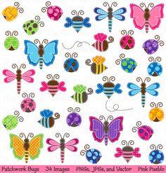 Patchwork Bugs Clipart Clip Art Bumble Bee Ladybug por PinkPueblo
