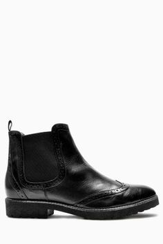Buy Black Leather Brogue Chelsea Boots from the Next UK online shop  Auf meiner Wunschliste stehen auch schwarze Brogue Chelsea Boots,die gut passen!