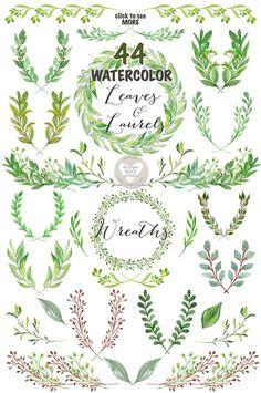 Watercolor Leaves, Laurel and Wreath by designloverstudio on @creativemarket
