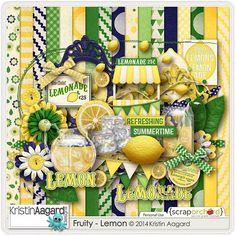 Digital Scrapbook Kit - Fruity-Lemon | Kristin Aagard