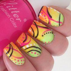 quenalbertini: Nail art design by Funky Nail Art, Funky Nails, Cute Nail Art, Colorful Nails, Bright Nails, Great Nails, Fabulous Nails, Gorgeous Nails, Beautiful Nail Designs