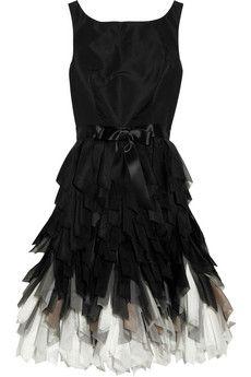 Oscar de la Renta  Fringed-skirt silk-taffeta dress