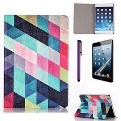 motif multicolore réseau étui en cuir PU avec protecteur d'écran et un stylet pour iPad mini-3/2/1 - EUR € 10.77