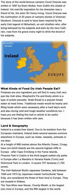 Facts on Ireland for kids http://firstchildhoodeducation.blogspot.com/2013/10/facts-on-ireland-for-kids.html