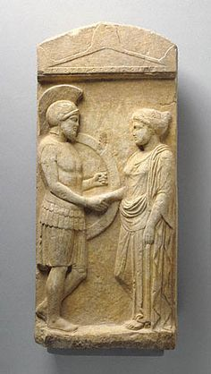Grave Stele of Philoxenos with his Wife, Philoumene app. 400 b. (Greek) one of many stele at Getty Museum Ancient Greek Sculpture, Ancient Greek Art, Ancient Greece, Greek History, Ancient History, Art History, Classical Greece, Museum Studies, Mycenae