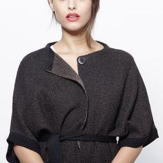 Brown black cardigan women jacket knitted sweater kimono top. $125,00, via Etsy.