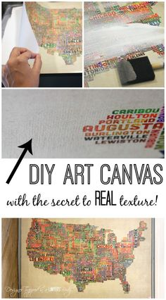 DIY Wall Art Ideas - You can make DIY Canvas Art with this detailed tutorial, with the secret to get that real canvas texture! Diy Arts And Crafts, Fun Crafts, Paper Crafts, Diy Canvas Art, Diy Wall Art, Blank Canvas, Diy Projects To Try, Art Projects, Diy Wand