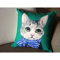 Designer Linen Pillow Blue Gray Green Retro Cat Pillow Cover 18 45 Cm... ($15) ❤ liked on Polyvore featuring home, home decor, throw pillows, black, decorative pillows, home & living, home décor, patterned throw pillows, green home decor and green toss pillows