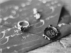 wax and seal wedding invitation