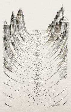 Poi sono sicuro che Tullio Pericoli ha letto molto le Città invisibili di Calvino, e anche Jonathan Swift (quello dei viaggi di Gulliver). Questo dipinto si intitola La città profonda (1991).