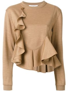 Givenchy Frill Flared Knitted Top In Brown Givenchy Top, Givenchy Sweater, Fashion Wear, Fashion Outfits, Fashion Trends, Beige Long Sleeve Tops, Woolen Tops, Frill Tops, Fashion Forecasting
