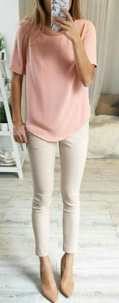 Work Outfit, love the pink top and neutrals.